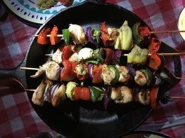 Chicken and veggie kabobs.