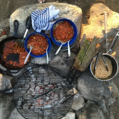 Pasta and sauce over the fire.