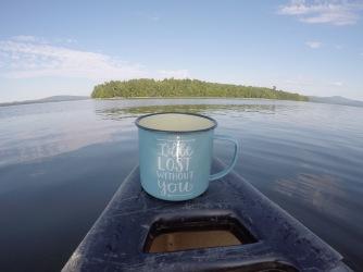 Morning coffee cruise on the canoe